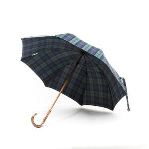Parapluie droit tissé écossais vert et bleu