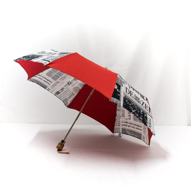 Parapluie pliant femme imprimé journal rouge