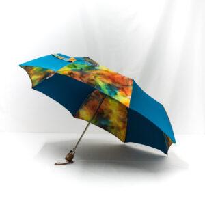 Parapluie pliant femme imprimé batik cobalt