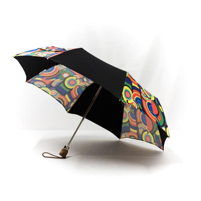Parapluie pliant femme imprimé multicolore noir