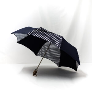 Parapluie pliant femme imprimé pois bleu