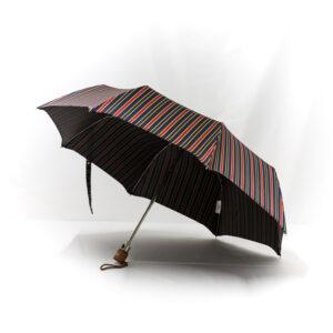 Parapluie pliant femme tissé rayures colorées