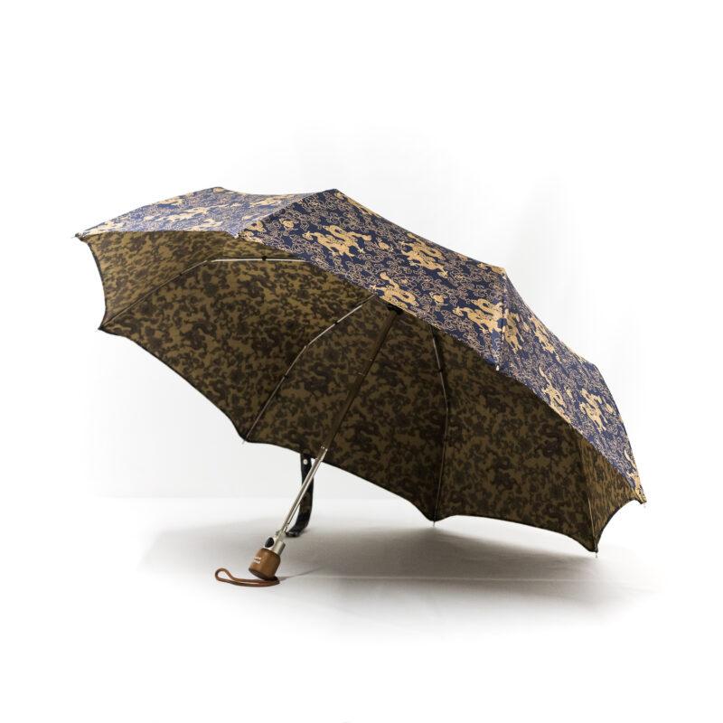 Parapluie pliant femme tissé dragons bleu