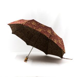 Parapluie pliant femme tissé dragons bordeaux