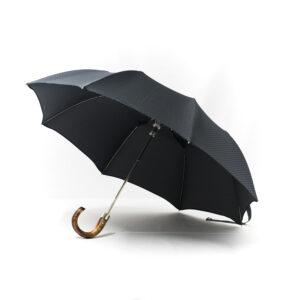 Parapluie chic pliant homme tissé petits carreaux gris