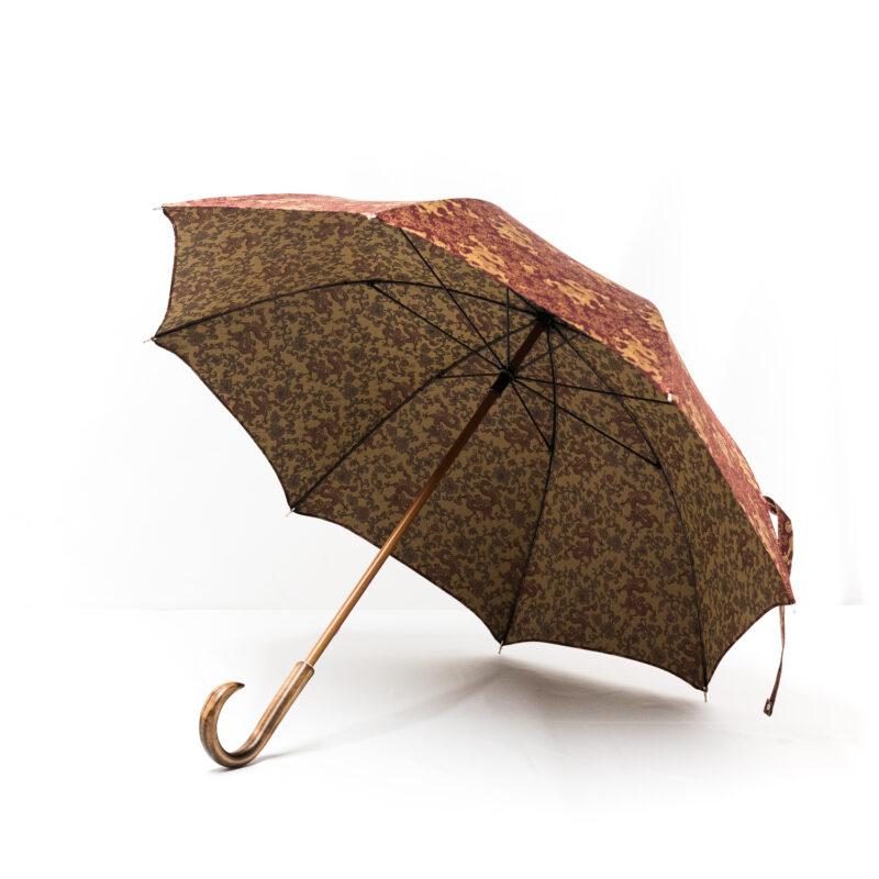 Parapluie droit tissé dragons bordeaux