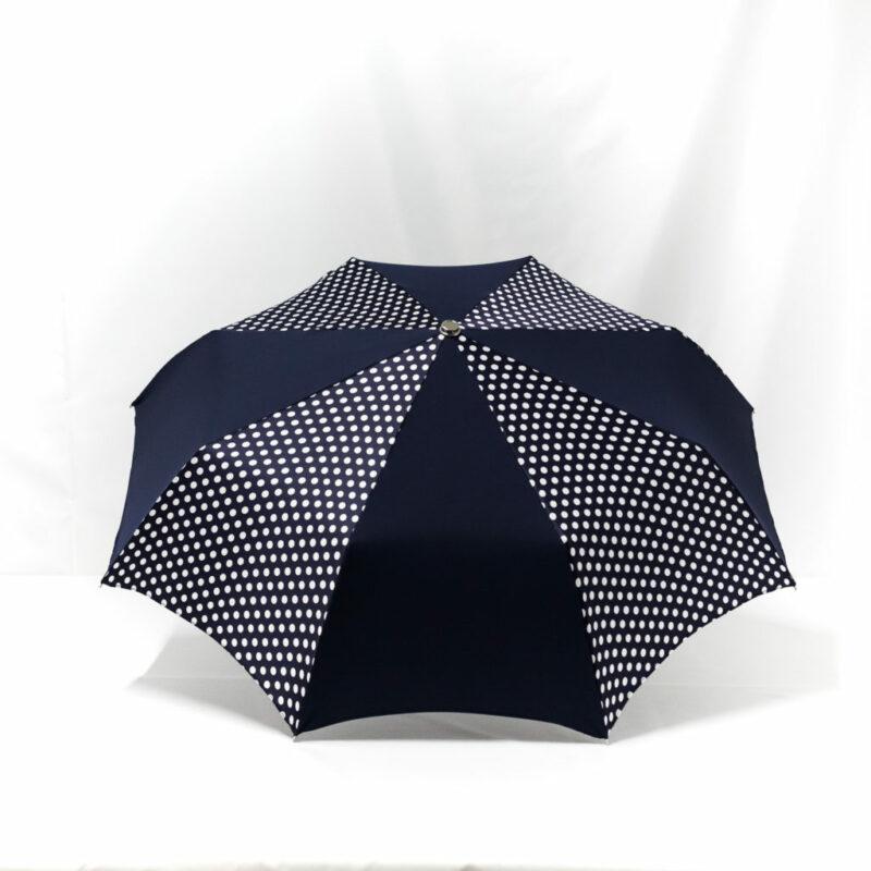 Parapluie pliant imprimé à pois bleu