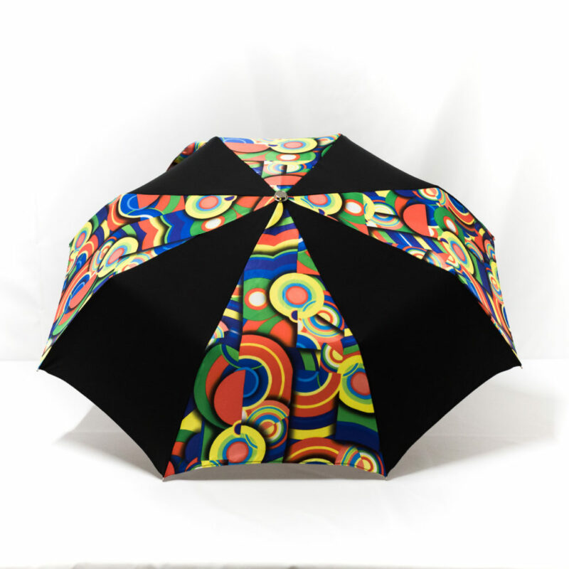 Parapluie pliant imprimé multicolore noir