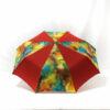 Parapluie pliant imprimé batik rouge