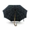 Parapluie anglais tissé écossais vert et bleu