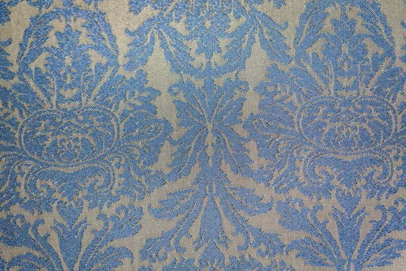 Tissu jacquard baroque bleu