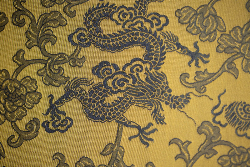 Tissu jacquard dragon bleu