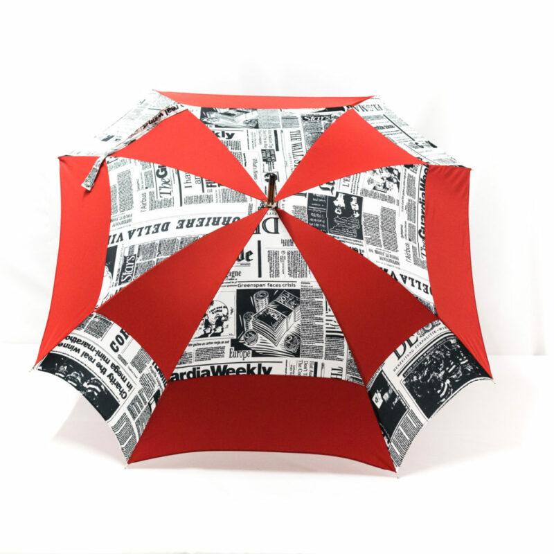 Parapluie carré journal rouge