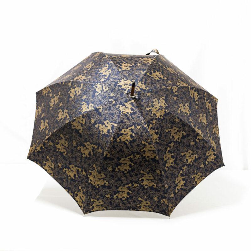 Parapluie droit tissé dragon bleu