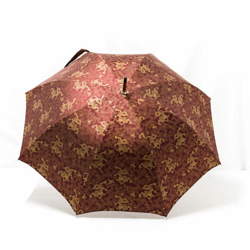 Parapluie droit tissé dragon bordeaux