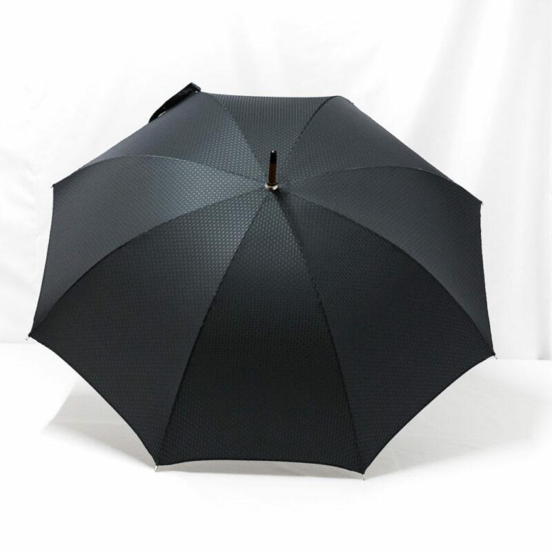 Parapluie chic droit tissé petits carreaux gris