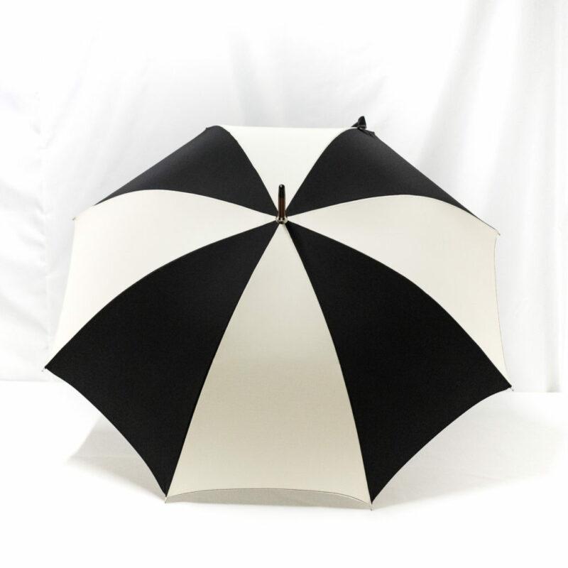 Parapluie droit classique noir et écru