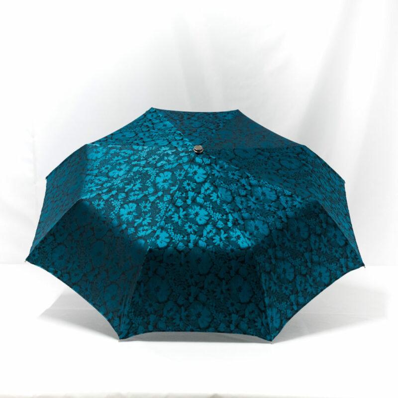 Parapluie pliant tissé fleurs bleues