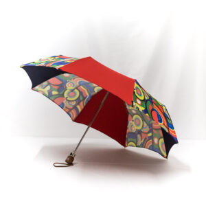 Parapluie pliant imprimé multicolore rouge et bleu