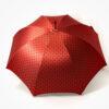 Parapluie droit rouge tissé à pois