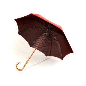 Parapluie droit tissé rouge à pois