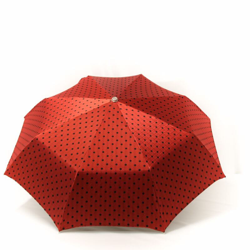 Parapluie pliant femme rouge tissé à pois