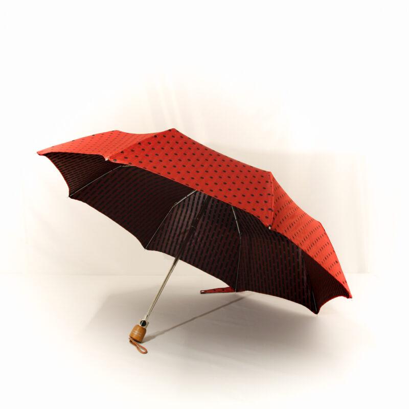 Parapluie pliant femme tissé rouge à pois